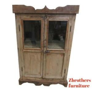 Antique Primitive Architectural Salvage Hutch Glass Cabinet Cupboard M Q