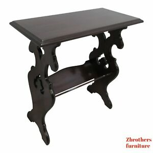 Antique Walnut Pierce Carved Lamp End Table Book Shelf Stand