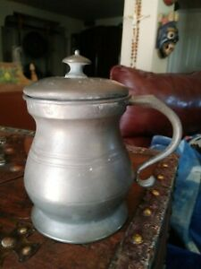 19th Century Pewter Mug With Cover
