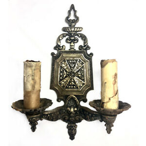 Antique Gothic Victorian Cast Iron Wall Sconce Light