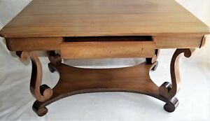 Antique English Dinner Kitchen Table Farmhouse W Drawer Curved Legs 48 X 30
