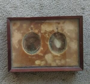 Antique Double Pocket Watch Shadow Box 6 5x9 Frame As Is For Repair