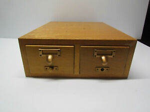 Vintage 2 Drawer Card Index Catalog Table Top File Cabinet Gaylord Bros Maple