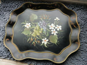 Antique Beautiful Vintage Large Black Tole Tin Tray Hand Painted White Flowers