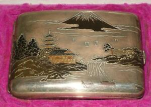 Antique 950 Silver Mixed Metal And Enamel Japanese Cigarette Case Signed