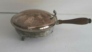 Vintage Sheffield Silver Silent Butler Crumb Ashtray W Lid Wood Handle 300