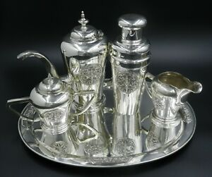 Sterling Silver Tea Set W Shaker And Sterling Silver Matching Tray 4lbs 12 8 Oz
