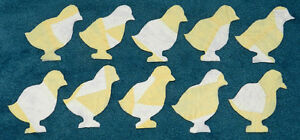 10 Primitive Antique Cutter Quilt Baby Chicks Look Yellow White