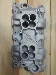 Say Why And Sbc Chevy Weiand Wcv327 Dual Quad 2x4 Intake Manifold Vintage 350