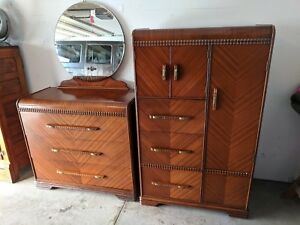 Excellent Beautiful Wooden 1920 S 40 S Antique Dresser And Matching Armor