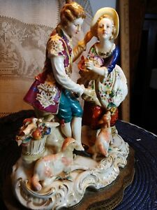Large Dresden Porcelain Lace Figurines Lamp Couples Courting Sheep Birds