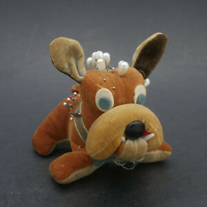 Antique Adorable Bulldog Puppy Figural Velvet Velveteen Pin Cushion