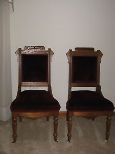 Victorian East Lake Walnut Side Chairs 1800 S Pair Of 2