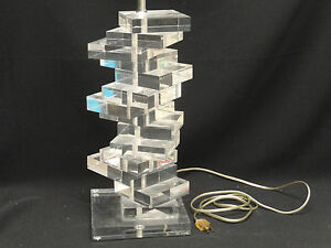 Fabulous Large Signed Marlu Modern 70s Space Age Stacked Block Lucite Table Lamp