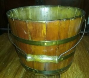 Antique Tounge And Groove Wooden Bucket Wire Bail W Wooden Handle