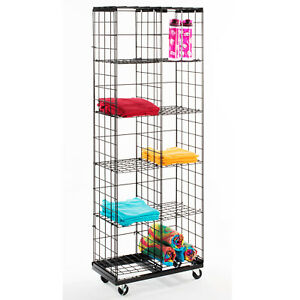 1 mobile Gridwall Panel Wire Display Rack 10 Acrylic T shirt Grid Holders New