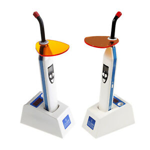 2x Dental 5w Led Wireless Cordless Curing Light Lamp Dual Color Light Meter Blue