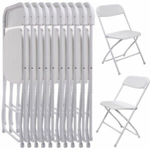 Lot 5 Or 10 Commercial Folding Chairs Wedding Quality Stackable Plastic White