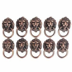 10pc Dresser Drawer Cabinet Door Ring Lion Head Pull Handle Knob Use For Antique