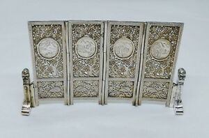 Antique Chinese Japanese Silver 4 Fold Shoji Screen Engraved Scenes C 1890