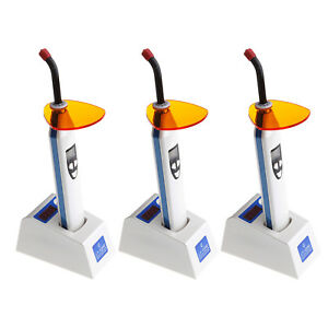 3x Dental 5w Led Wireless Cordless Curing Light Lamp Dual Color Light Meter Blue