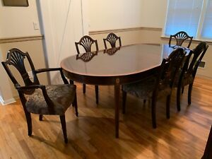Stickley Classic Mahogany Monroe Place Dining Table 6 Chairs 2 16 Leaves Pads