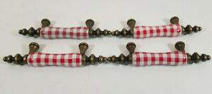 Vintage Red And White Enamel And Brass Gingham Checked Drawer Pulls Set Of 4