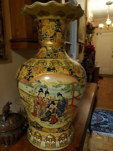 Satsuma Large Handpainted Vintage Vase With Geishas Made In Japan