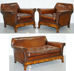Thomas Chippendale Marquetry Walnut Inlay Brown Leather Sofa Armchairs Suite