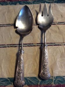 1880 Pairpoint Mfg Antique Silver Plate 2 Pc Serving Set Garland Pattern