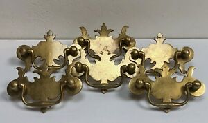 Set Of 6 Vintage Brass Batwing Chippendale Style Drawer Pulls
