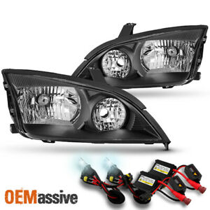Fit 2005 2006 2007 Ford Focus Lh Rh Black Headlights Assembly Pair 6000k Hid