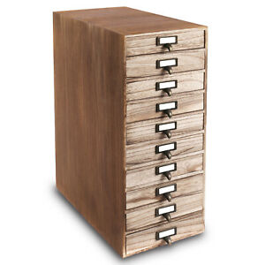 Ikee Design 10 Drawers Wood Storage Cabinet With Metal Label Holders