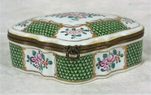 Antique Porcelain Enameled Chest Box Made In France Chinese Signed Limoges Style