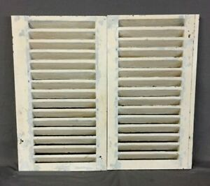 Small Pair Antique House Window Wood Louvered Shutters 16x28 Shabby Vtg 205 19c
