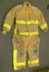 Firefighter Set Jacket 46x29 Pants 40x29 Suspenders Turn Out Gear Janesville S45