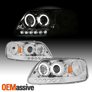 Fits 97 03 F150 Expedition 1pc Halo Projector Led Headlights W corner Signal