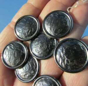 Buttons Pewter Silver Mirror Crumpled Paper Pattern Set Of 7 Lot Shank Back