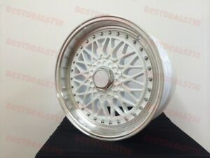 18 Staggered Rs Style White Wheels Fits 5x114 Maxima Altima Toyota Camry