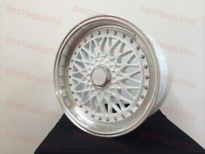 18 Staggered White Rs Style Rims Wheels Fits Vw Gti Gli Passat Jetta 5x112