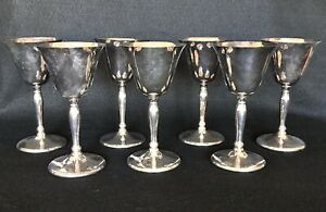 Vintage Sheffield Silverplate Wine Glass Goblet Bar Cocktail Set Of 7 5 75