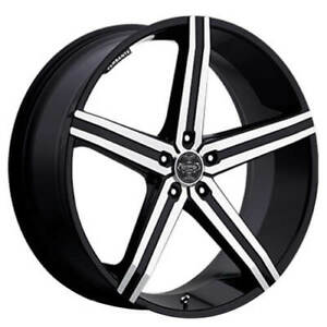 24 Versante Wheels Ve228 Black Machined Rims Fs