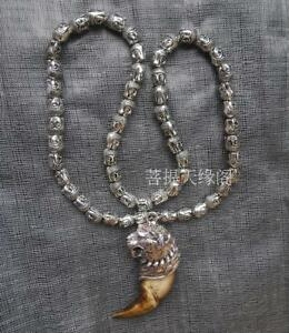 Wild Teeth Tibet Silver Tiger Amulet Pendant Buddha Head Beads Necklace