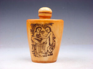 Bone Crafted Snuff Bottle Exotic Ancient Figurines Painted W Spoon 02131902
