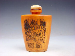Bone Crafted Snuff Bottle Exotic Ancient Figurines Painted W Spoon 02131901