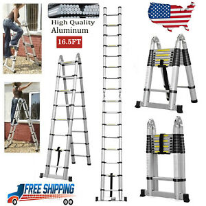 16 5ft Aluminium Ladders Telescoping Extension Folding Step Ladder Portable Us