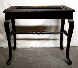 Antique Vintage Solid Wood Wooden End Accent Lamp Sofa Side Table No Glass Top