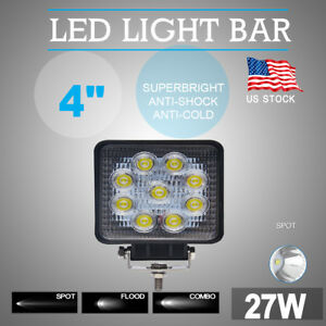 4 Spot 27w Square Led Work Light Offroad Truck Suv 4x4 Boat Lamp 12v 24v