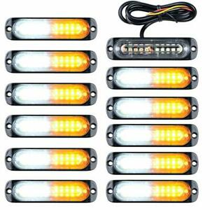 12pcs 10 Led Strobe Lights Emergency Flashing Warning Beacon White Amber 12v 24v