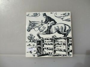 Ceramic Decorative Tile Horse Racing Jumping Stallion Old French Vintage Retro